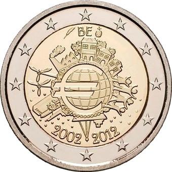 Бельгия - 10 лет наличному евро