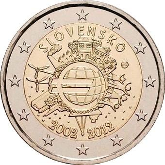 Словакия - 10 лет наличному евро