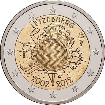 Люксембург - 10 лет наличному евро